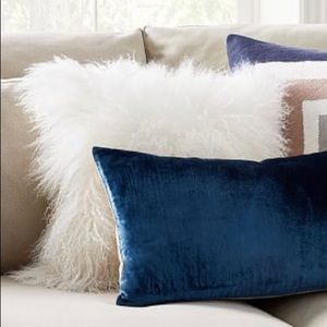 West Elm Mongolian Lamb Pillow Cover White